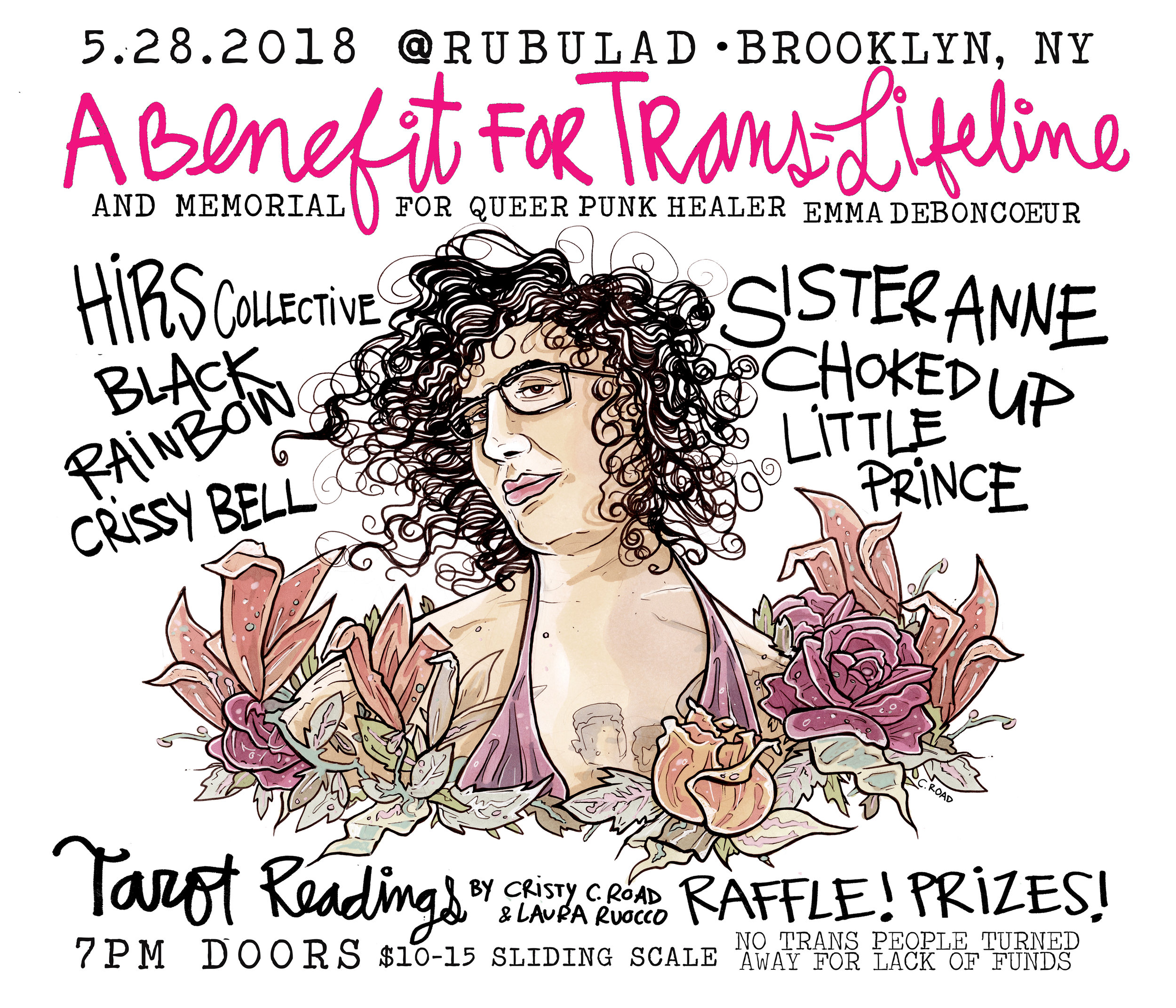 Flyer from last year's benefit for Trans Lifeline Project with art by Cristy Road
