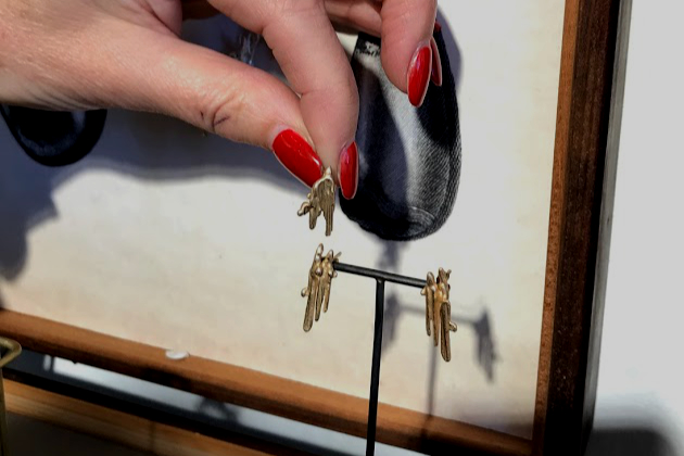 Commissions Molten Double Drop Gold Earrings.jpg