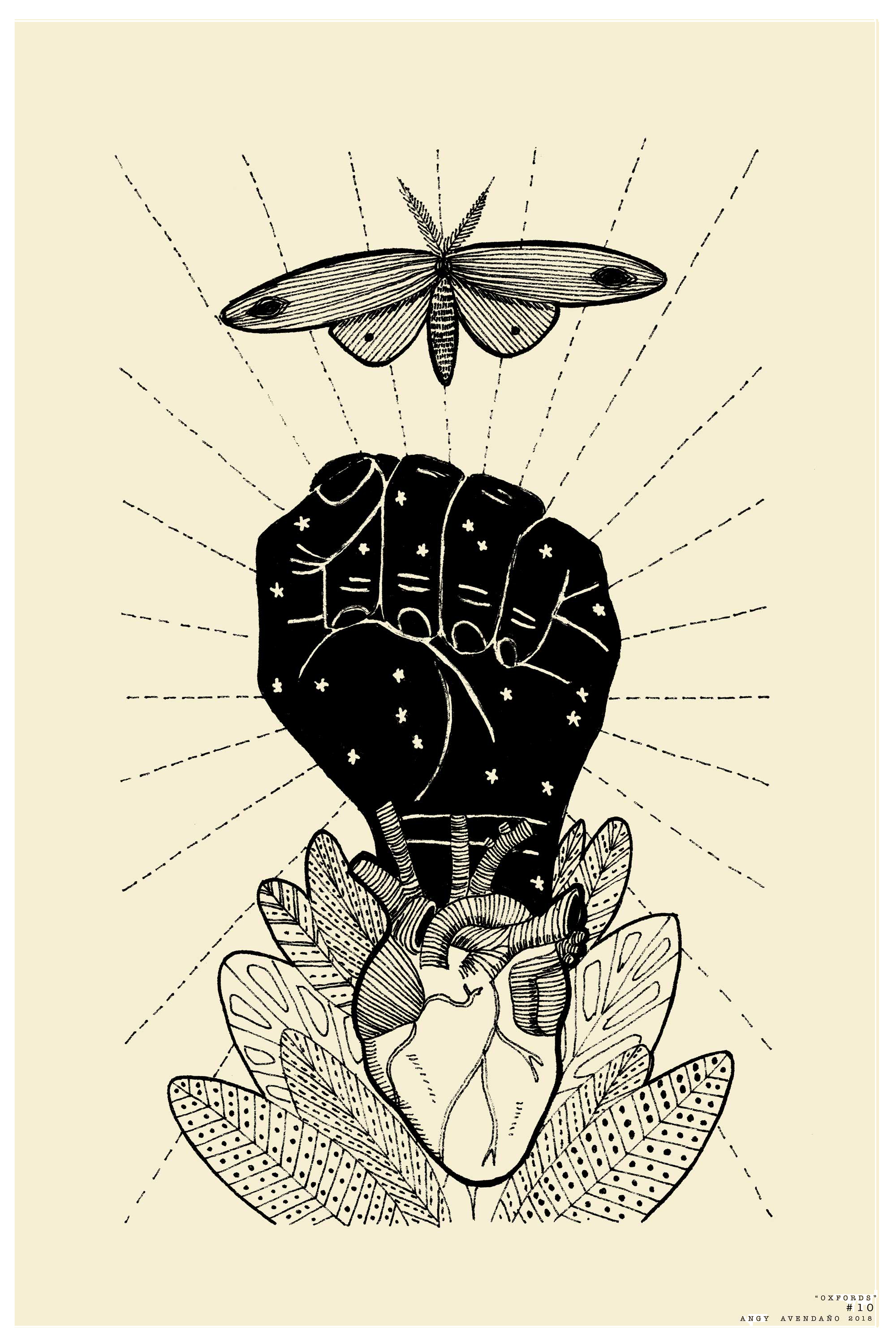 Blue Bee Gallery - Grip - Angy Avendano - Painting of Fist with Heart and Moth - Limited Edition Print