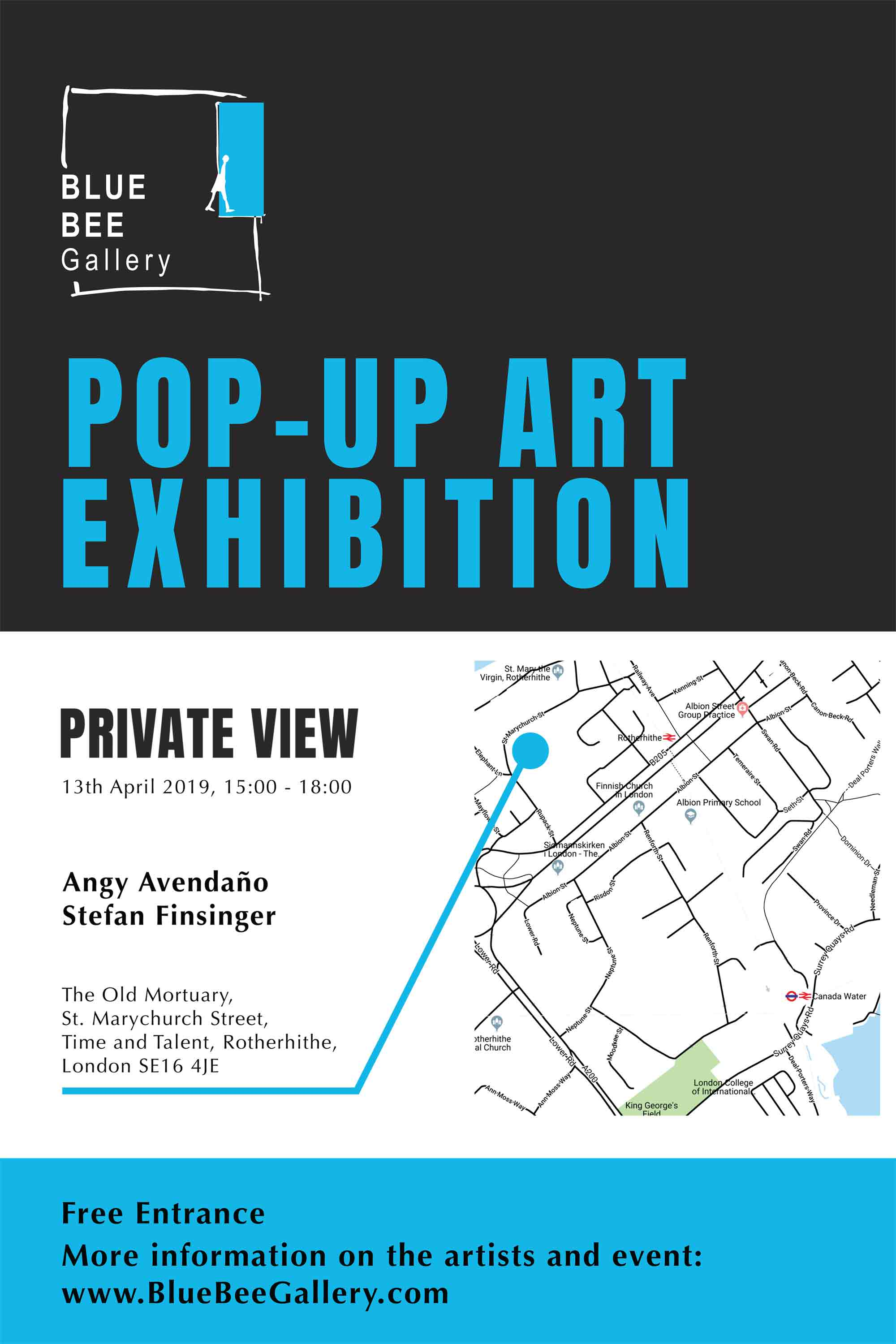 Blue Bee Gallery - Pop Up Event - Invite