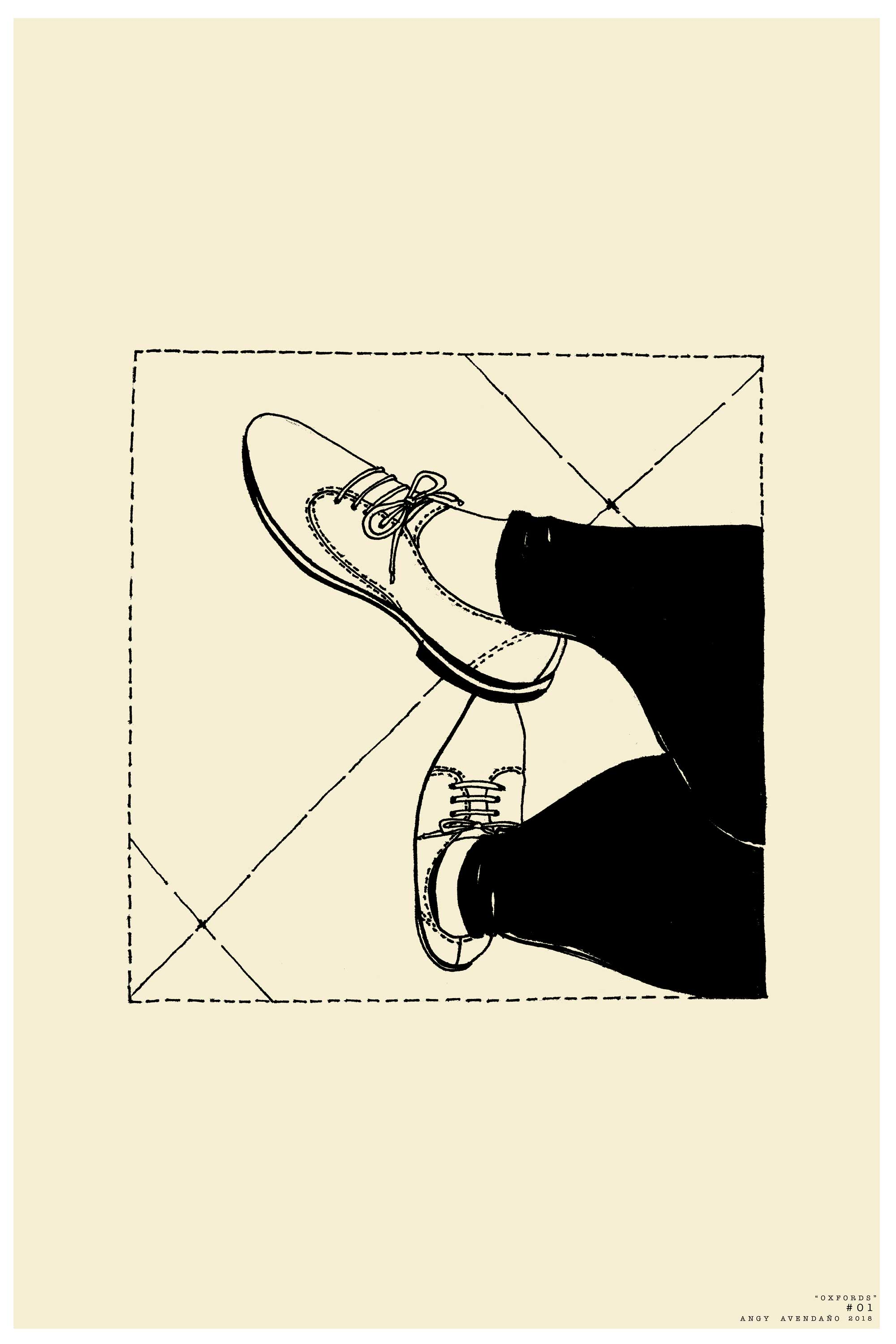 Blue Bee Gallery - Oxfords by Angy Avedaño - Limited Edition Print of Ink Painting - Female Crossed Legs with Oxfords Shoes