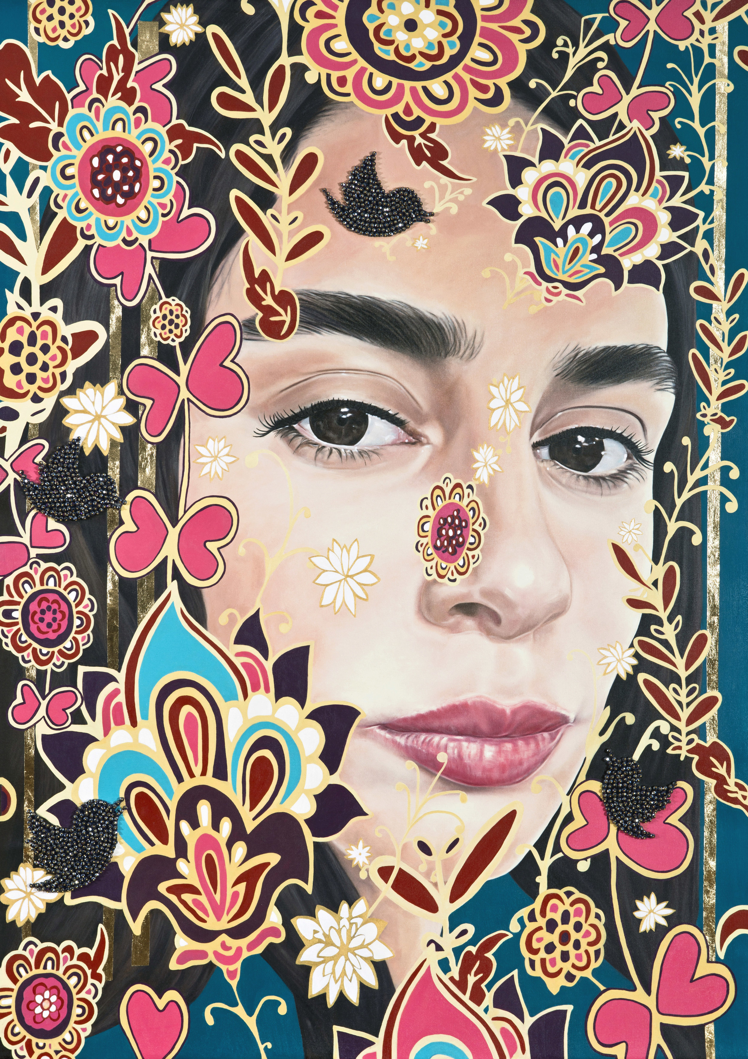 Garden of Armina Portraits C, 175X120 cm oil& green swarovski beads&gold leaf on canvas, 2018.jpg