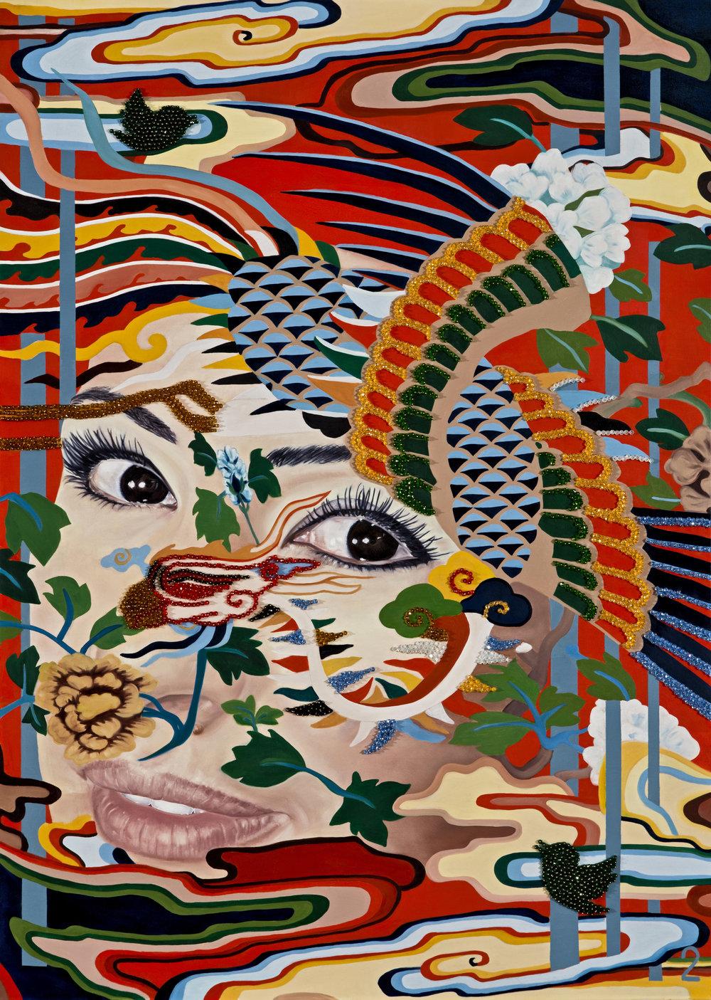 Garden of Armina, Phoenix 2018 oil and swarovski beads on canvas 170 x 120 cm