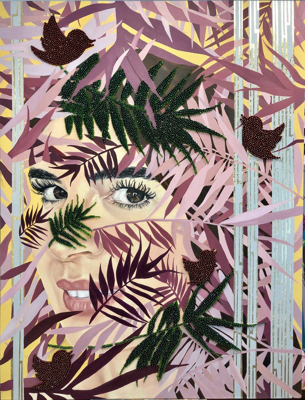 Garden of Armina, Miami 2018 oil, Gold LeaF and swarovski beads on canvas 170 x 130 cm