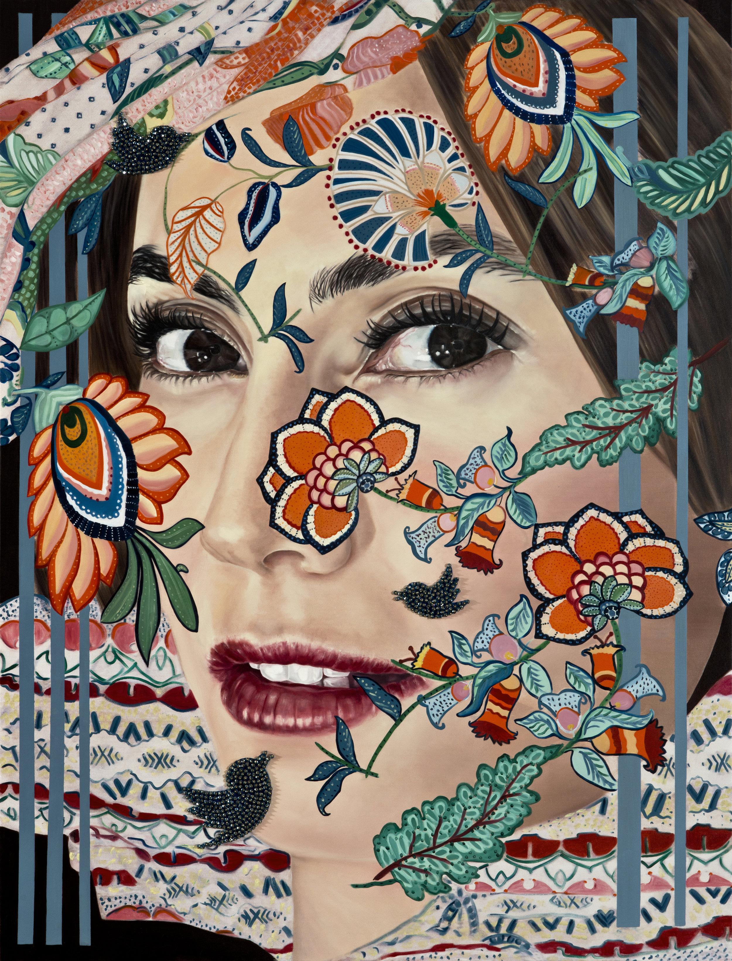 Garden of Armina Portrait, 170x130cm oil & beads on canvas, high res.jpg