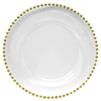 Gold Beaded Charger Plate - $4.50