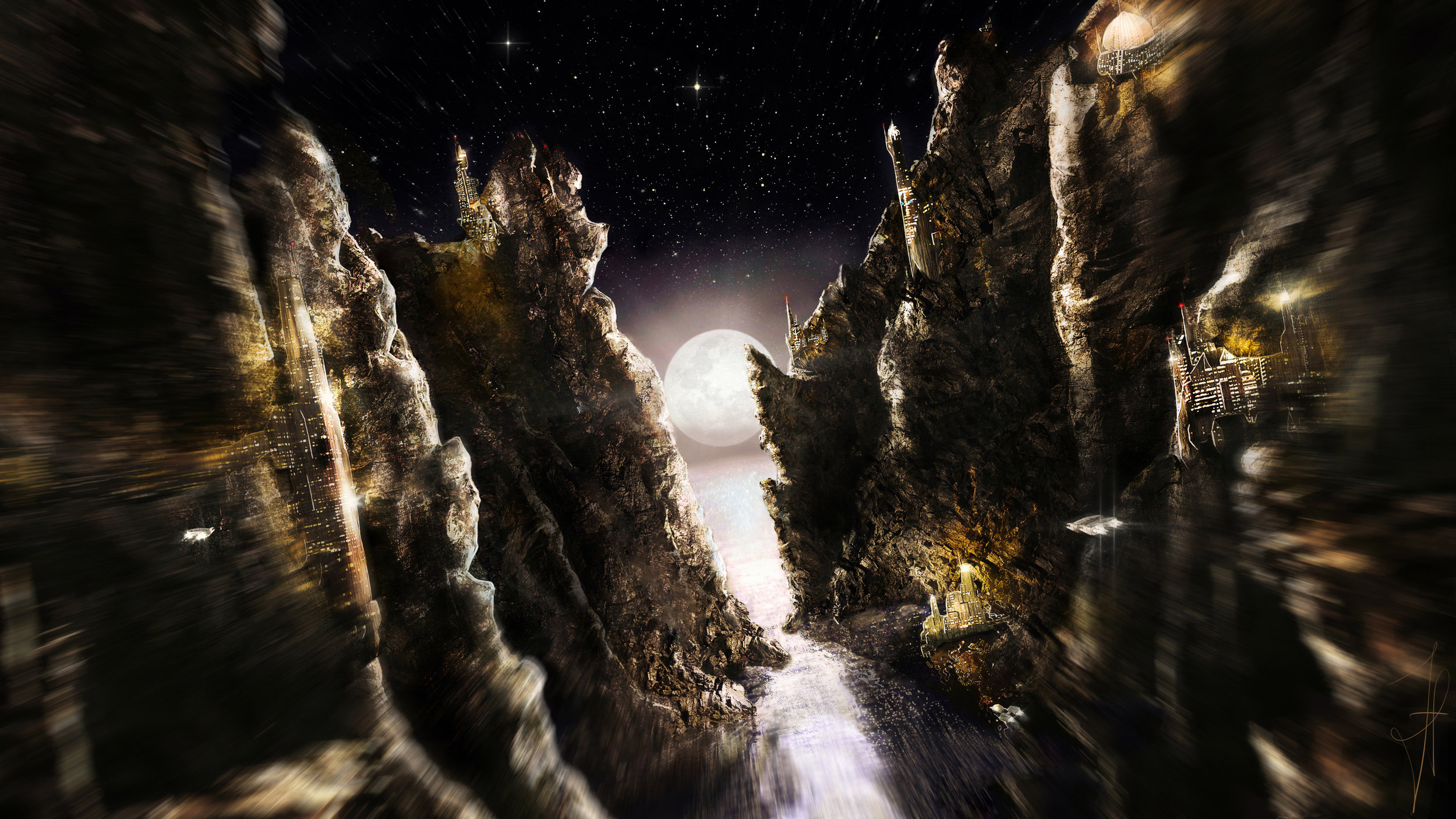 The Night Cliffs - Flying through the night to the next destination, as the lights blurry and shine for a last time.Making of and animation: SoonDate: 2012Tools: Photoshop - Wacom Tablet - PC