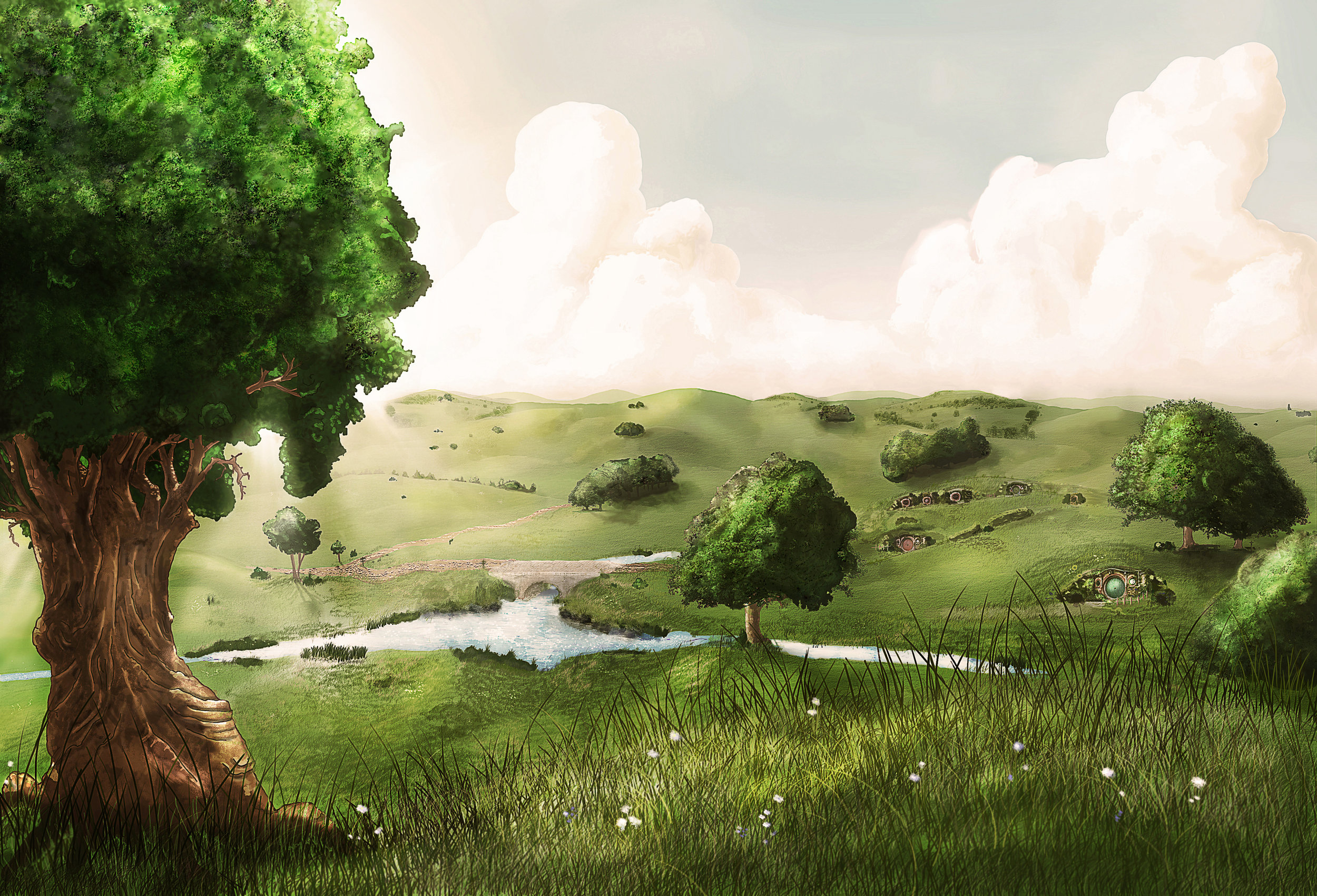 The Shire - A sunny day in the Shire, no worries in sight.Making of: SoonDate: 2011Tools: Pencil - Paper - Photoshop - Wacom Tablet - PC