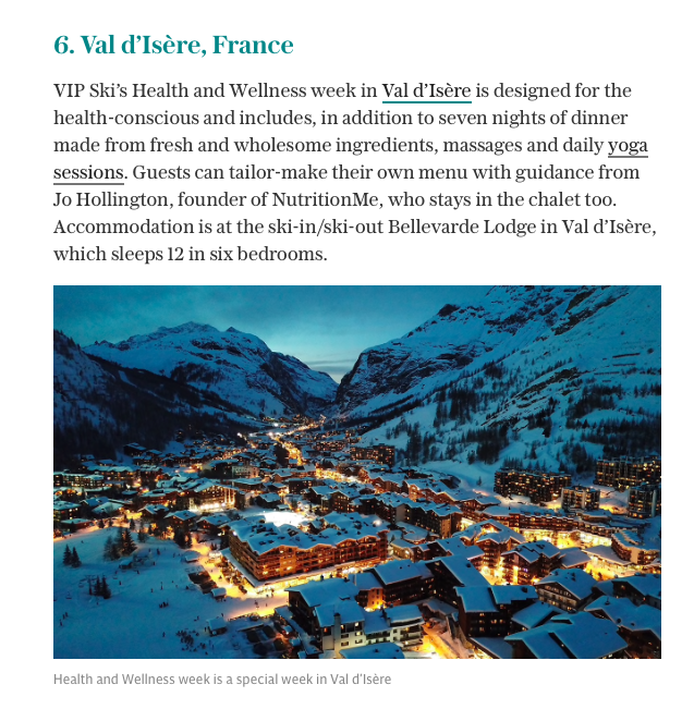 The Telegraph Travel   - Eight of the greatest ski holidays for food lovers