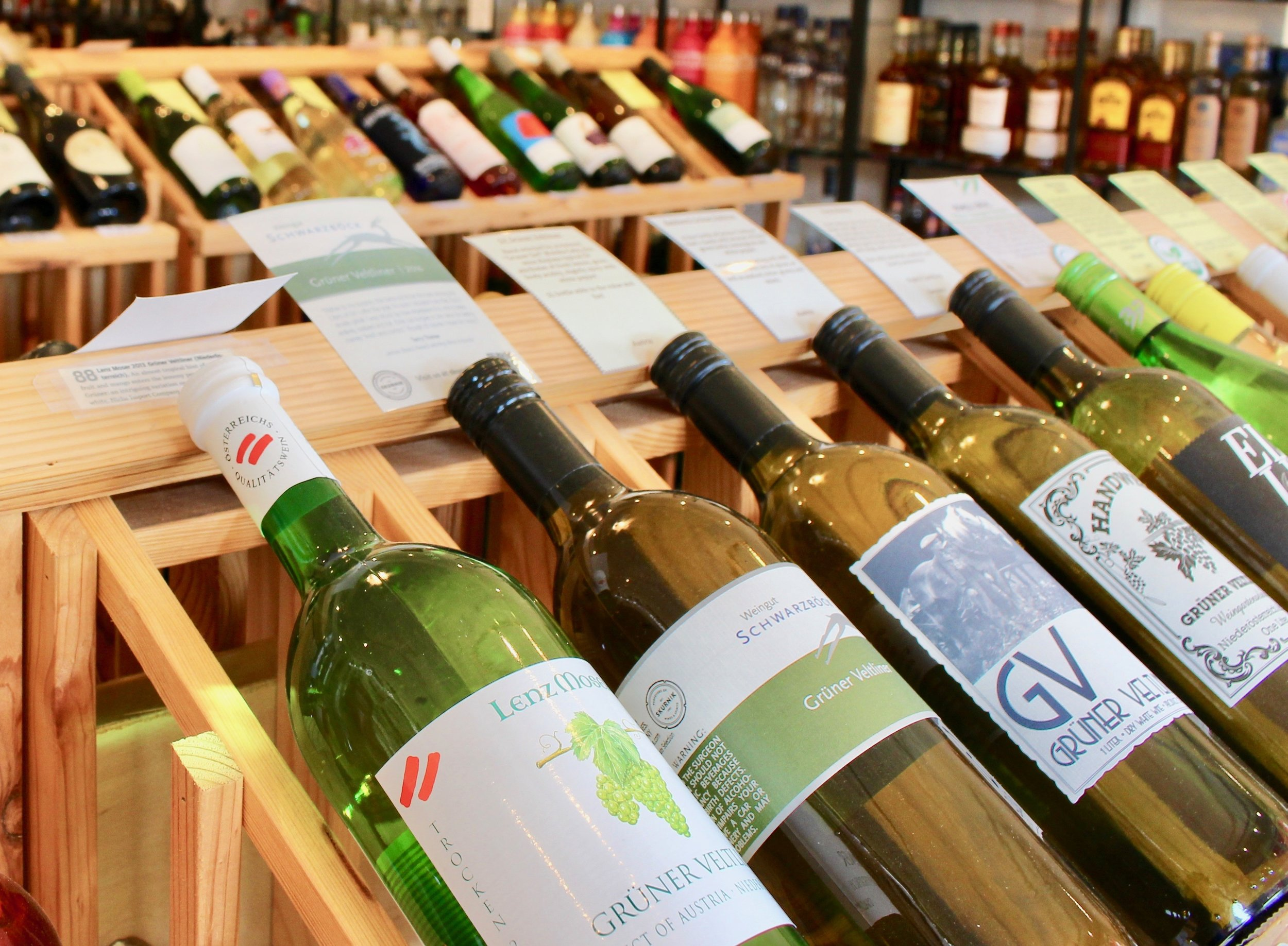 Rows and rows of great wine selections with clear descriptions and compelling prices at Roxbury Wine & Spirits.