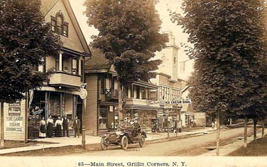 A bustling Main Street in Fleischmanns NY, formerly Griffins Corners, from days gone by.