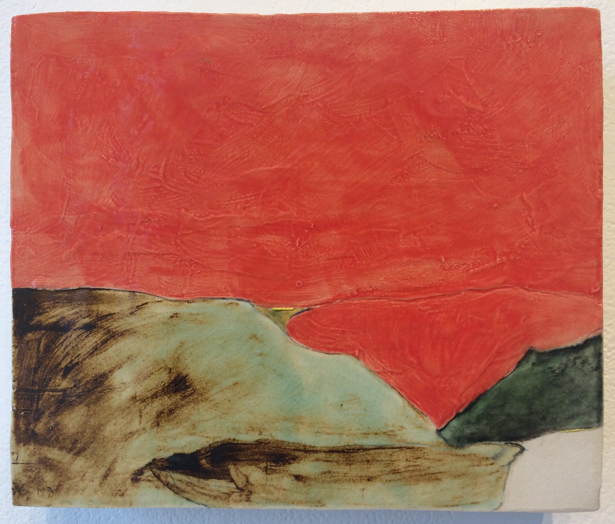 Megan Irving  creates landscapes in clay involving glaze washes and dry point incisions in her unique approach to the medium. Now on view at Roxbury Arts Group.