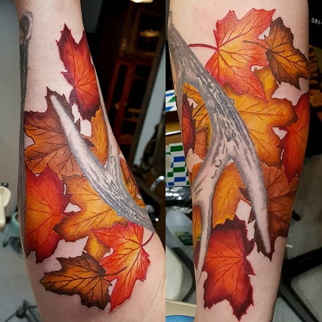 Tattoo lovers are welcome in our neck of the woods! Check out @raywhitetattoo 🍁 #Repost @raywhitetattoo ・・・ IN PROGRESS #deerantler #deer #hunting #leaves #guyswithtattoos #catskillmountaintattoo #hunter #deerhunter #deerhunting #deerseason #outdoorstattoo @trijiconhunt @deermeatfordinner @hunting @hunting_hunter_best @outdoorchanneltv @intenzetattooink  @inkedmag @killerinktattoo @catskillslove @catskillmountaintattoo