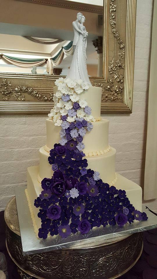 Purple sugar flowers Wedding Cake