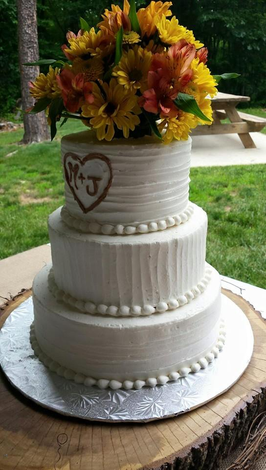 Carved Initial Wedding Cake