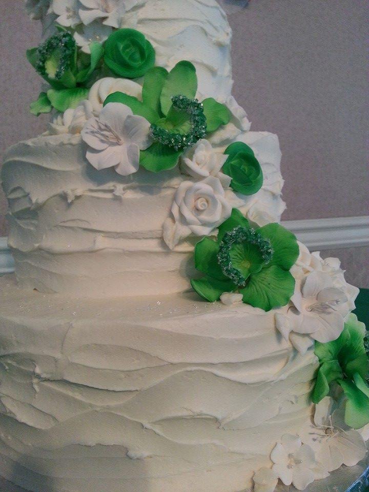 Green Sugar Flowers Wedding Cake