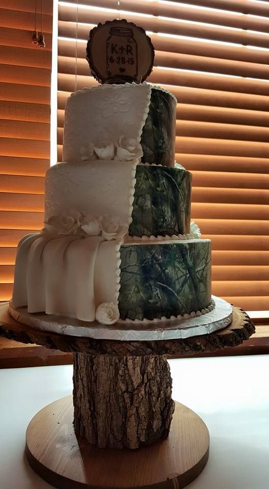Half Camo Half White Wedding Cake