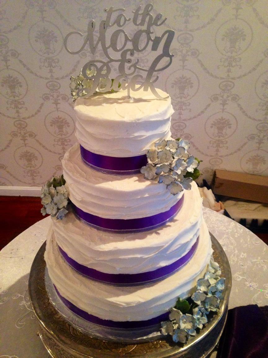 4 tier purple ribbon Wedding Cake