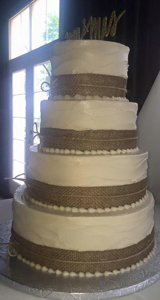 4 tier burlap Wedding Cake