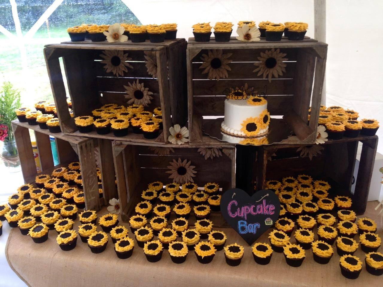 Sunflower Cupcake Wedding Cake