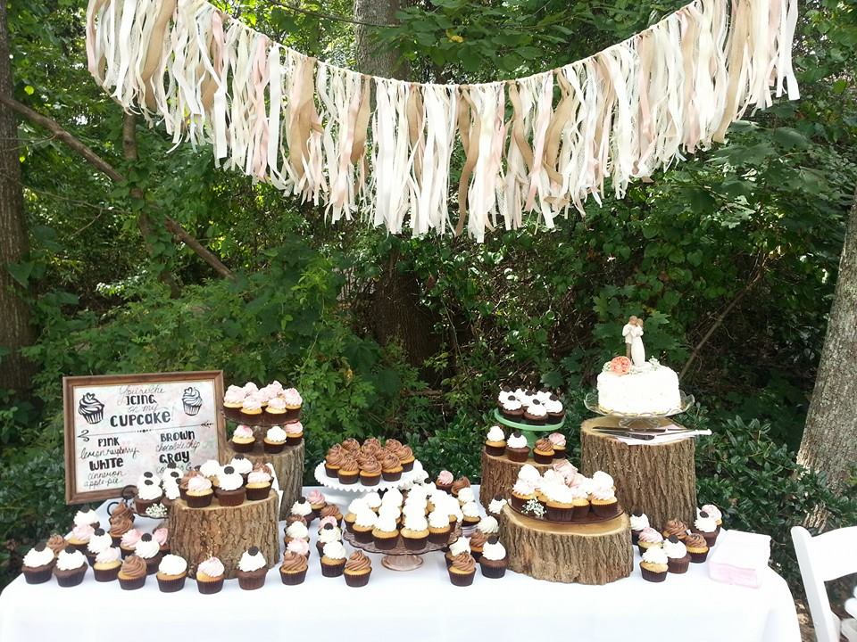 Tree Trunk Wedding Cupcake Display