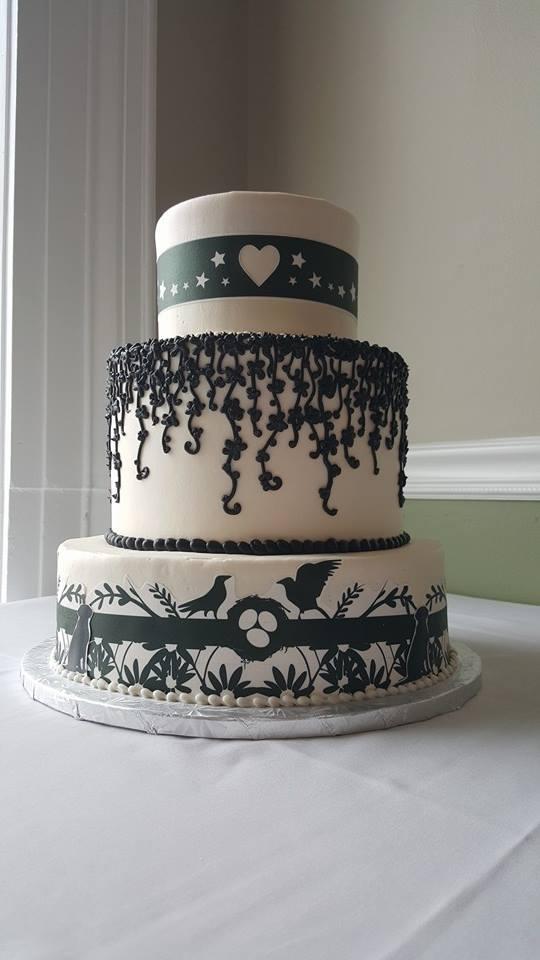 Black & White Bird Wedding Cake