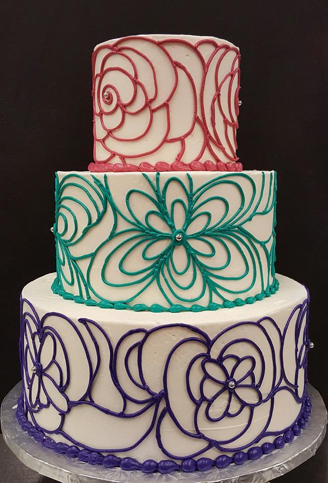 Hand Piped flower design Wedding Cake
