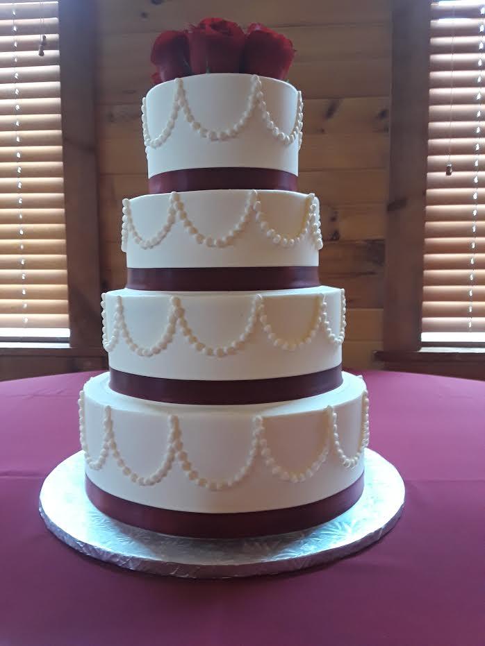 Ribbon & Pearls Wedding Cake