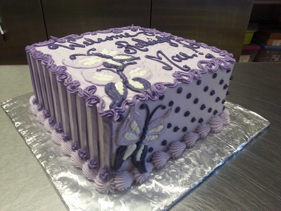 Purple Butterflies Baby Shower Cake
