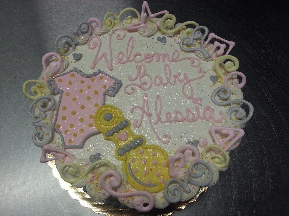 Onesie & Rattle Baby Shower Cake 2