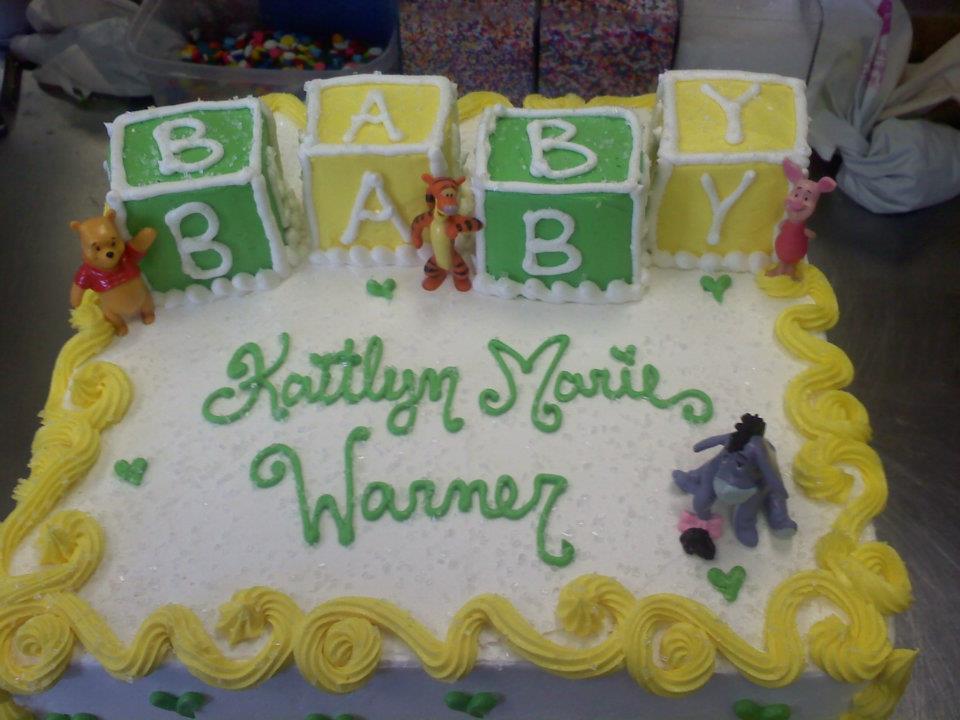 Pooh Bear Blocks Baby Shower Cake