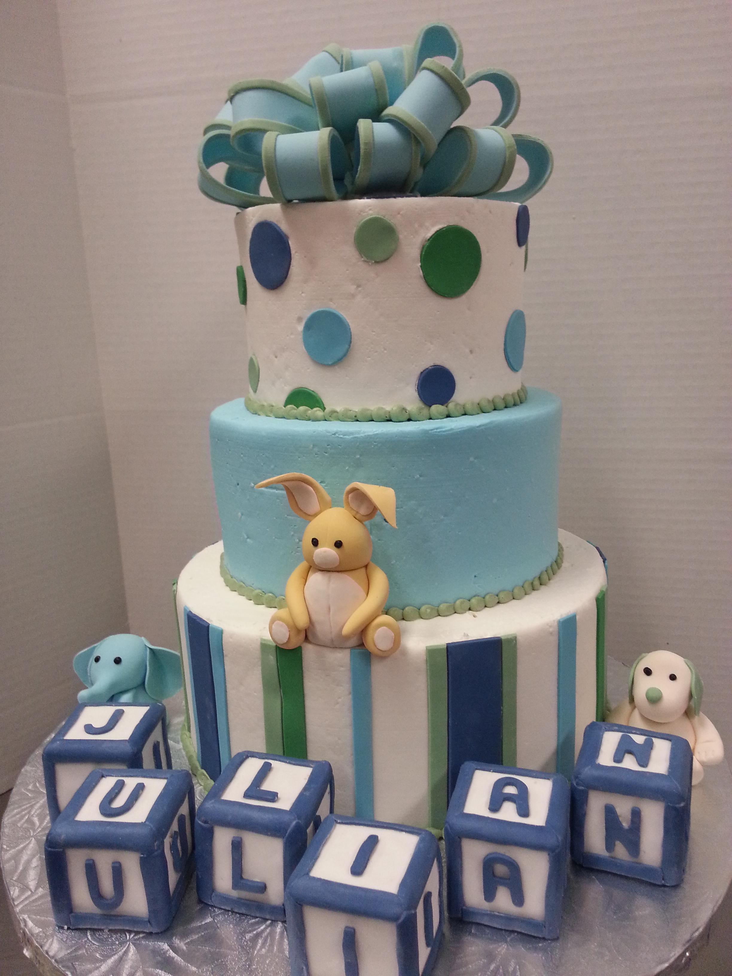 Animal Blocks Baby Shower Tier Cake