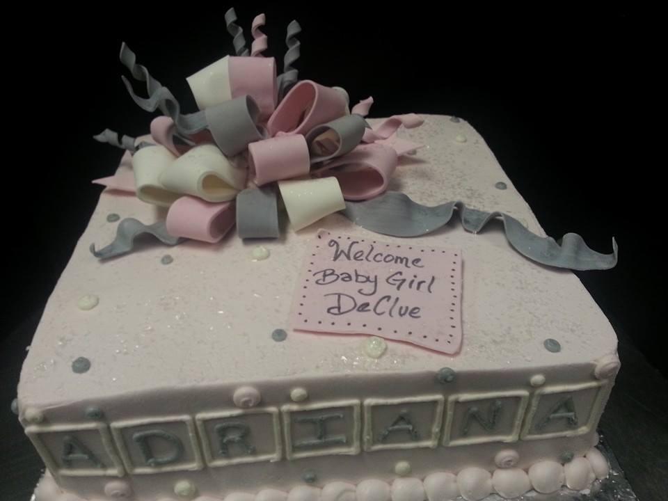 Pink Gray Baby Shower Present Cake