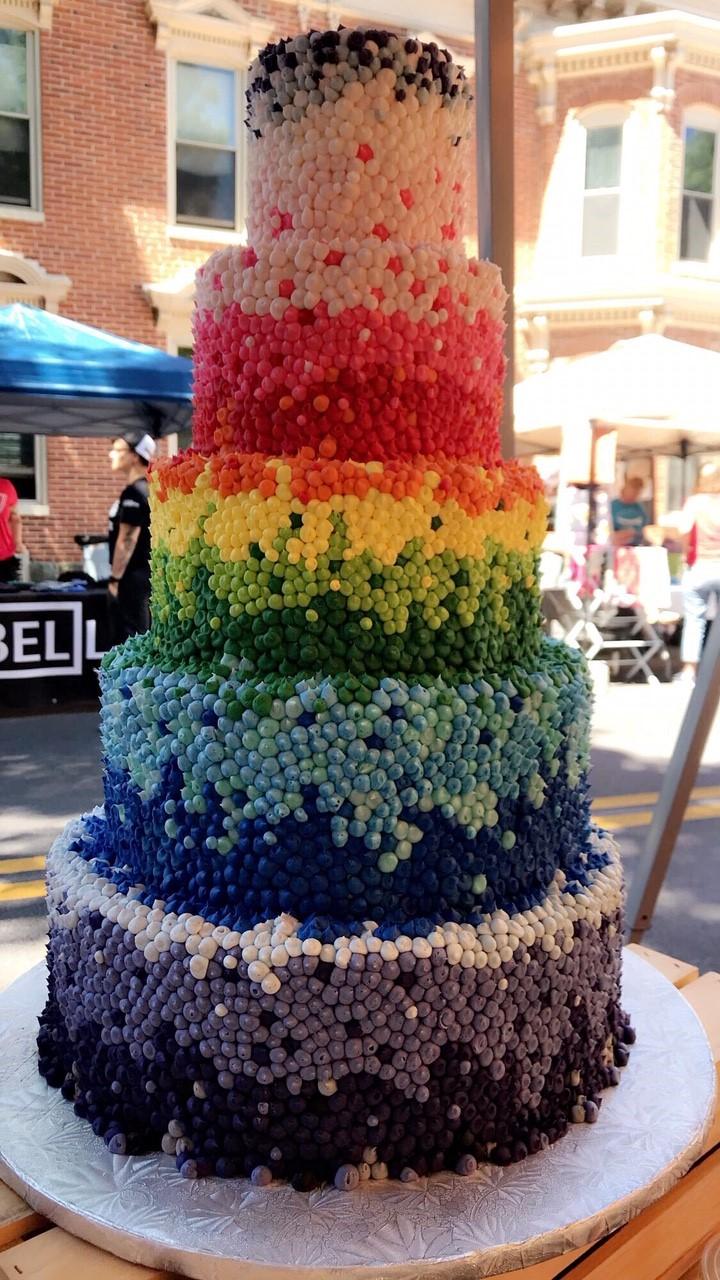 Rainbow Dot Love is Love Wedding Cake