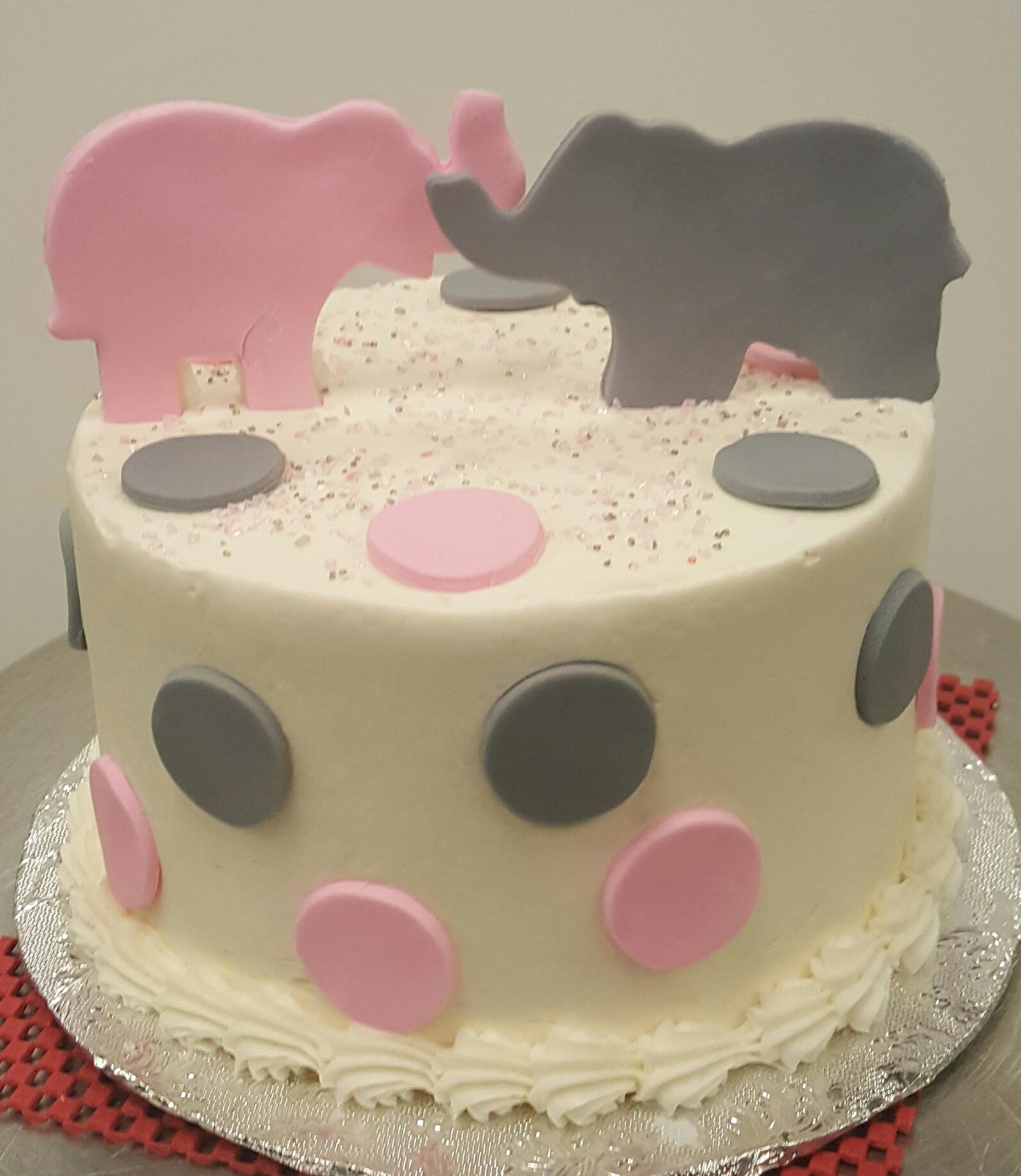 Pink Gray Elephant Baby Shower Cake