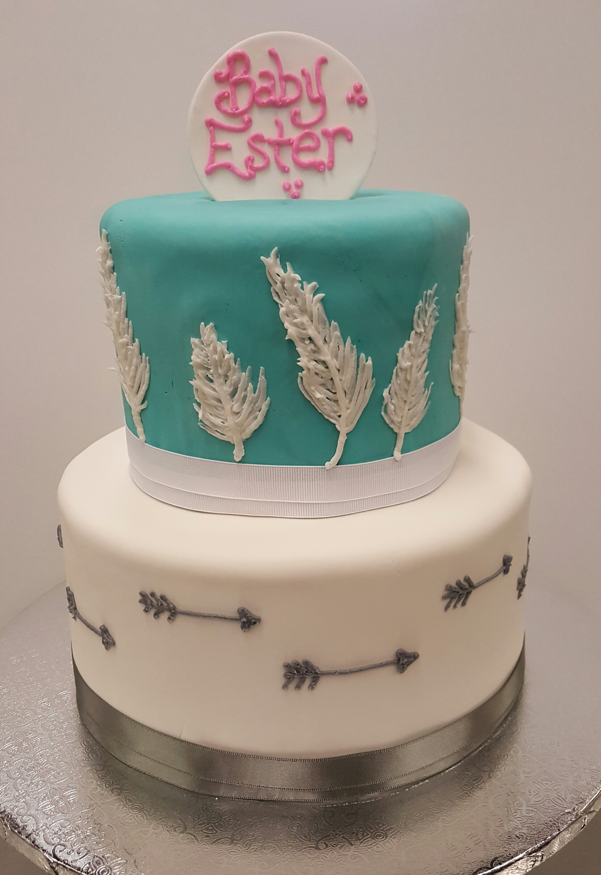 Feather Arrow Baby Shower Tier Cake
