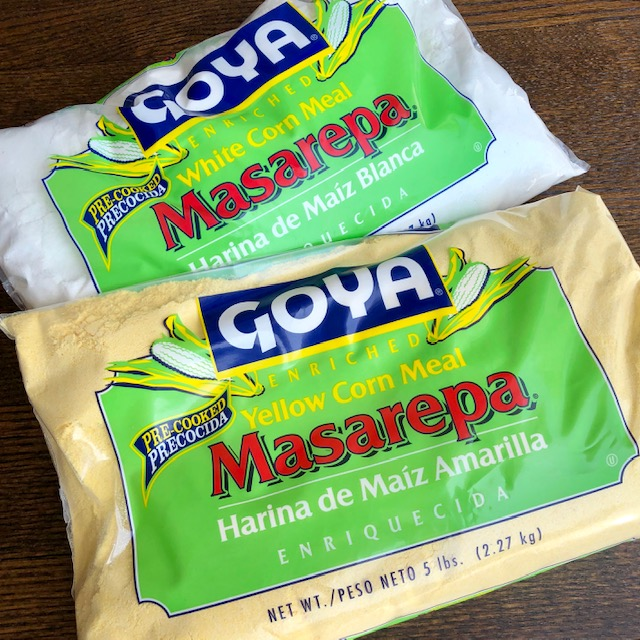 * MASAREPA is precooked yellow or white corn meal. My favorite brand is PAN but Goya makes one and may be more readily available. This is the same flour used for making tamales and empanadas.