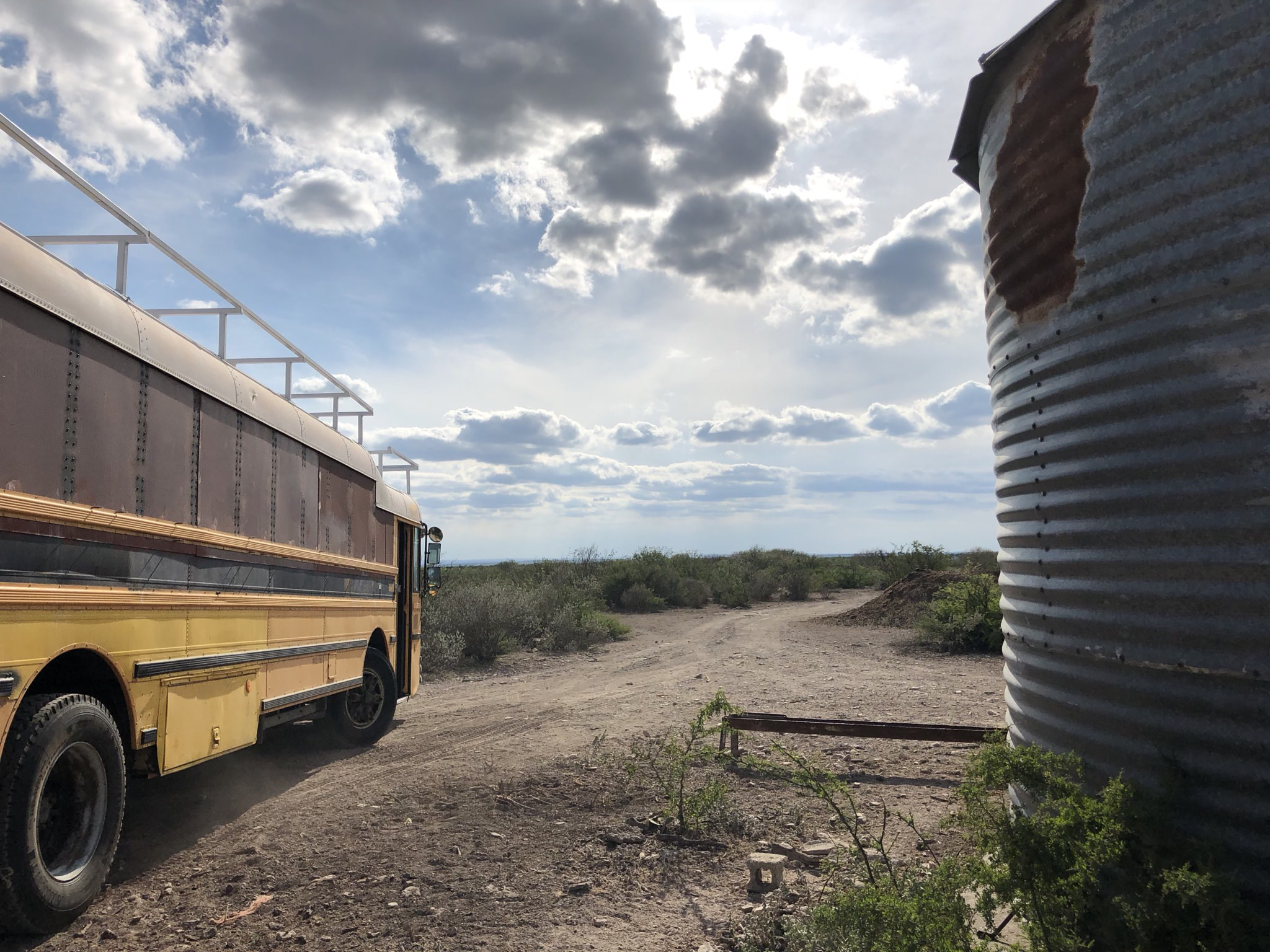 The Derelicte Bus at it's new location. 6 months into the project. May 2018.