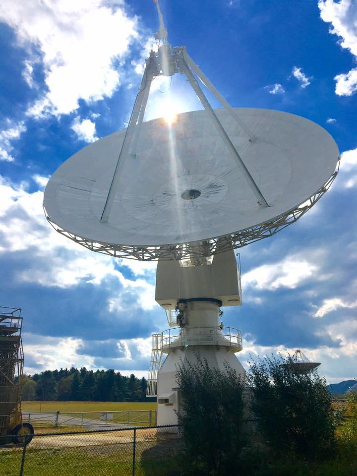 Skynet's 20-meter diameter radio telescope at Green Bank Observatory, West Virginia.