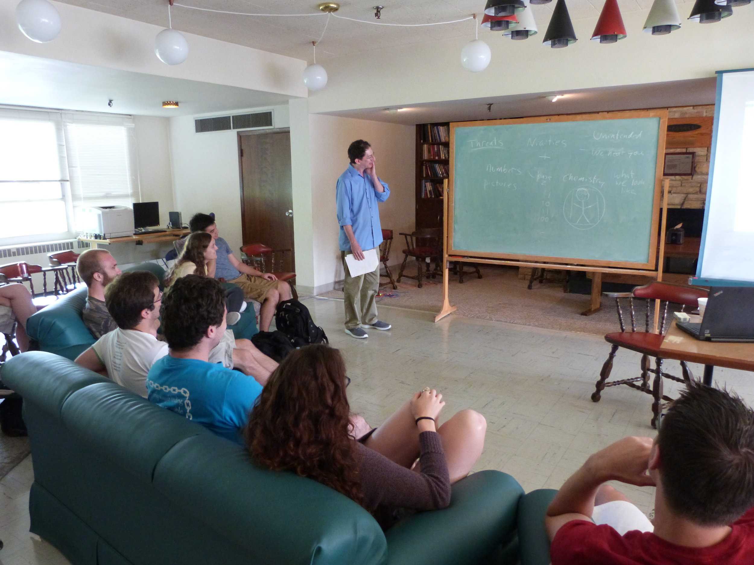 Students participating in a workshop on SETI, in the Drake Lounge
