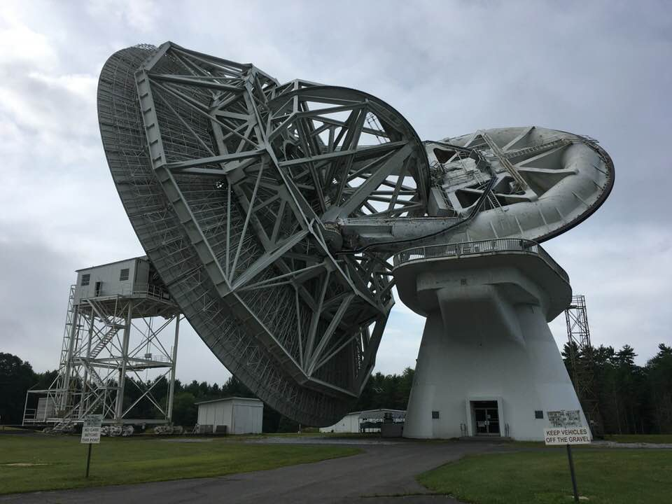 The 140-foot diameter radio telescope at  Green Bank Observatory , caught during a rare receiver change. Built in the 1960s, the 140-foot is still in use today.