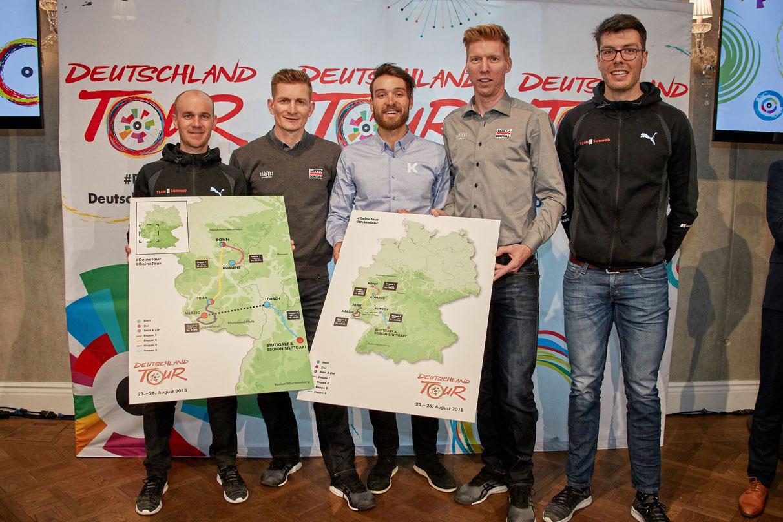 Freuen sich auf die Deutschland Tour (v.l.): Johannes Fröhlinger (Team Sunweb), André Greipel (Lotto Soudal), Rick Zabel (Katusha Alpecin), Marcel Sieberg (Lotto Soudal) und Max Walscheid (Sunweb). Alle Fotos: Veranstalter.