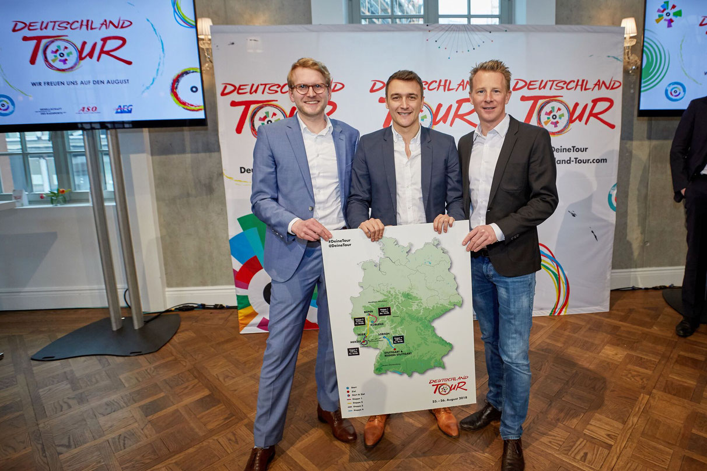 Die Organisatoren (v.l.): ASO-Projektleiter Matthias Pietsch, ASO-Deutschland-Chef Claude Rach und der sportliche Leiter der Deutschland Tour Fabian Wegmann.