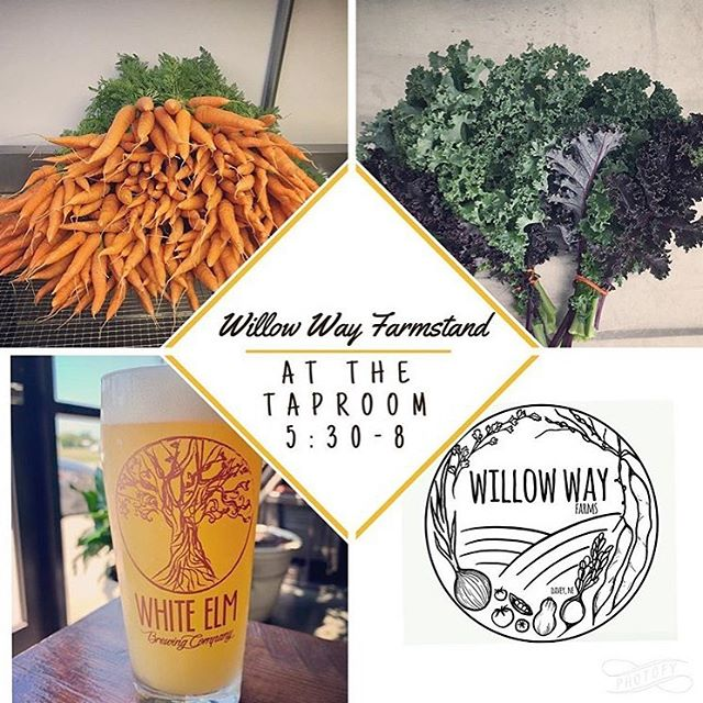 We're back tonight at @whiteelmbrewing from 5:30-8 for Farm Stand and CSA. Grab a glass of delicious Skinny legs IPA or Nitro Scoop: White Elm's Golden Ale! Total of 12 beers on tap tonight!  For sale tonight we have: Tomatoes, cherry tomatoes, Kale, carrots, sweet peppers, jalapeños, parsley, and topless beets.
