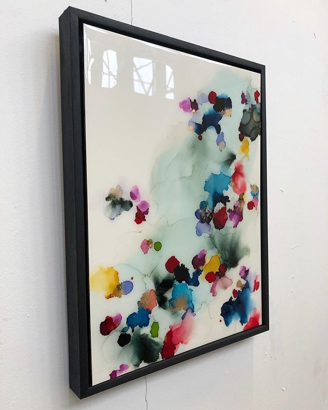 'Spring to mind' 16x20  Ink and resin on board Black wooden float frame  Available £180 free UK shipping or +£20 international x
