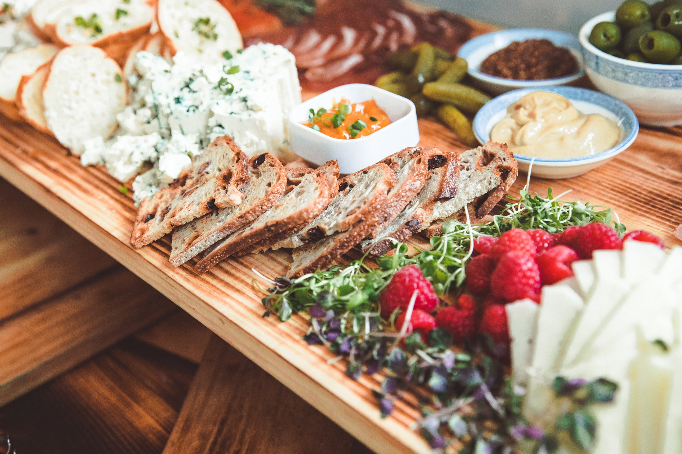 Catering Platter with cheese, fruit and bread