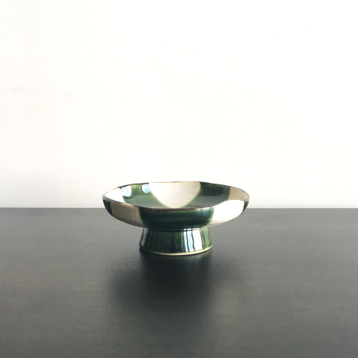 Oribe Green & Ivory Checkered Small Dish with Stand