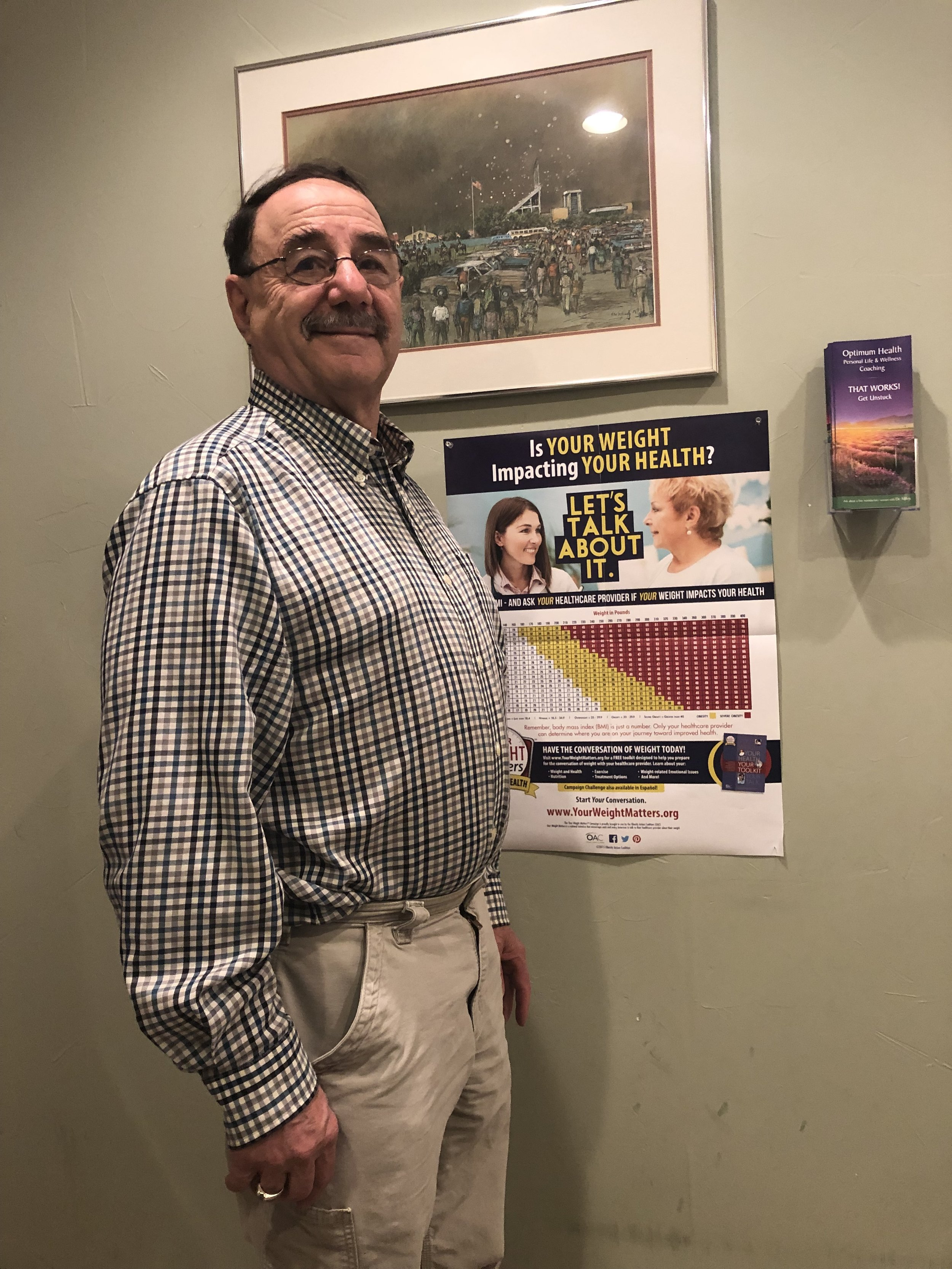 Jim sustaining weight loss two years after coaching with Dr.    Reed Miloy MD