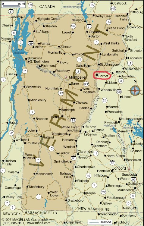 Map of Vermont with Barnet Highlighted