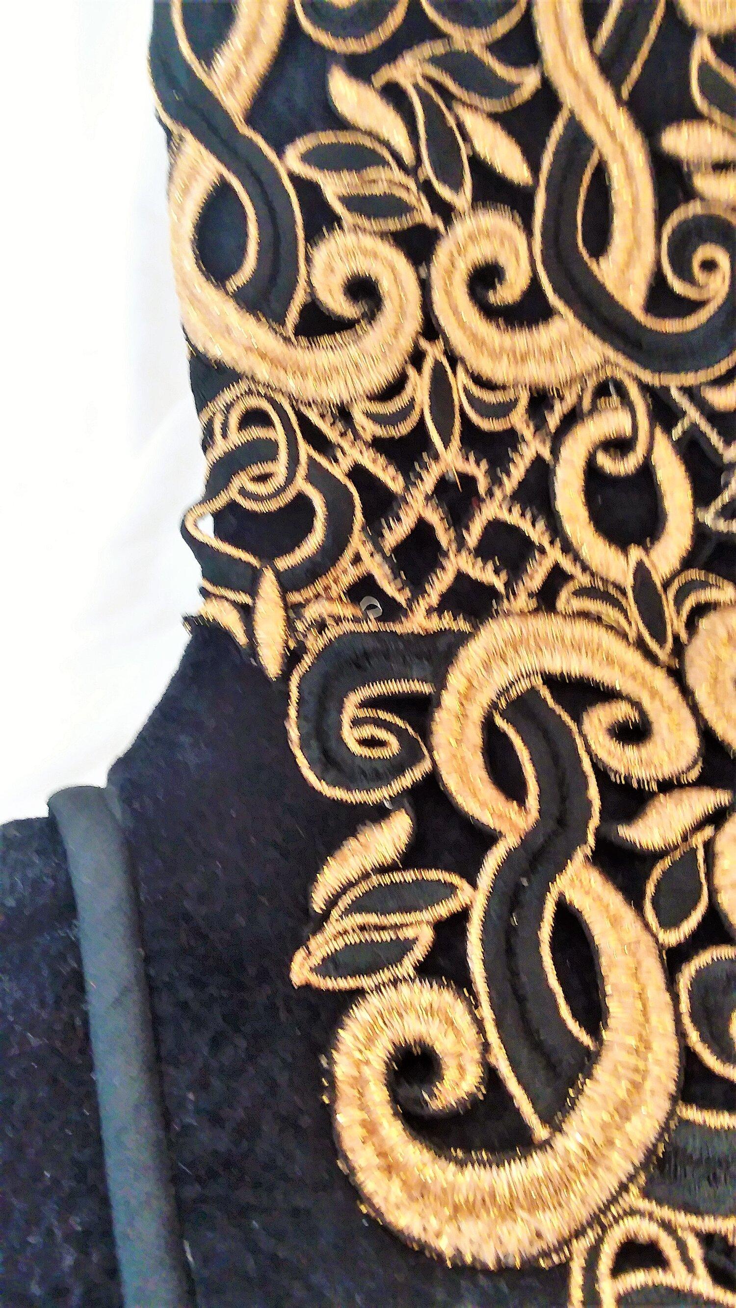 Applique sewing faux Black Suede